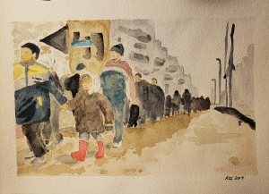 a line of refugees walking down a wet street in a city, in the lead is a boy holding the hand of a little girl