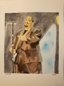 watercolor painting of a man playing guitar and singing